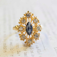 Vintage Filigree Cocktail Ring set with Sapphire and Clear Swarovski Crystals 18k Gold Electroplated Made in USA