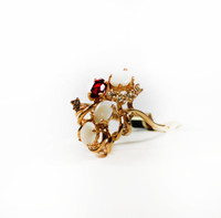Vintage Genuine Opals Cluster with Ruby and Clear Swarovski Crystals Ring 18k Gold Electroplated Made in USA