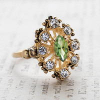 Vintage Peridot Swarovski Crystals and Clear Crystal Cocktail Ring Antiqued 18k Gold Plated Made in USA