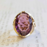 Vintage Amethyst Swarovski Crystal Cocktail Ring 18k Yellow Gold Electroplated February Birthstone Made in USA