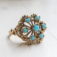 Vintage Turquoise Bead Filigree Ring Antiqued 18k Yellow Gold Electroplated Made in USA