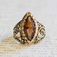 Vintage Topaz Swarovski Crystal Antiqued 18k Gold Electroplated Filigree Ring Made In USA