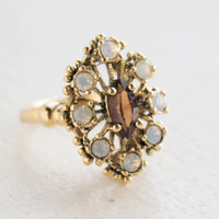 Vintage Smoky Topaz and Pinfire Opal Cocktail Ring Antiqued 18k Yellow Gold Electroplated Made in USA