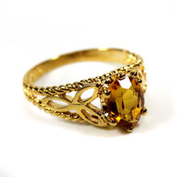 Vintage Brown Topaz Swarovski Crystal Filigree Ring 18k Yellow Gold Electroplated Cocktail Ring Made in USA
