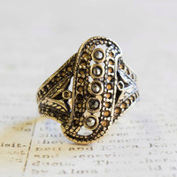 Vintage Genuine Marcasite Ring Antiqued 18k Yellow Gold Electroplated Filigree Setting Made in USA