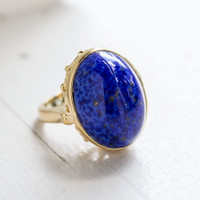 Vintage Genuine Lapis Lazuli Ring in 18k Gold Electroplated Setting Made in USA