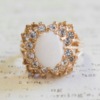 Vintage Genuine Opal and Clear Swarovski Crystals 18k Yellow Gold Electroplated Victorian Style Cocktail Ring Made in USA