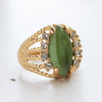 Vintage Genuine Jade Filigree Ring 18k Yellow Gold Electroplated Made in the USA
