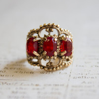 Vintage Filigree Ring Three Ruby Swarovski Crystals Antiqued 18k Yellow Gold Electroplated Made in USA