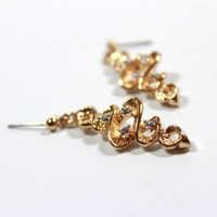 Vintage 1970s Two Tone Dangle Post Earrings set with Swarovski Crystals Made in USA