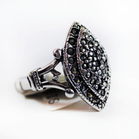 Vintage Genuine Marcasite Antiqued Rhodium Plated Pave Ring 18k White Gold Electroplated Made in USA