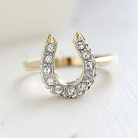 Vintage 1970's Lucky Horseshoe Ring Clear Swarovski Crystals 18k Yellow Gold Electroplated