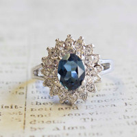 Vintage 1970's Sapphire and Clear Swarovski Crystals 18k Gold White Gold Electroplated Ring