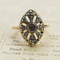Vintage Antiqued 18k Yellow Gold Electroplated Ring Amethyst Swarovski Crystal Made In USA
