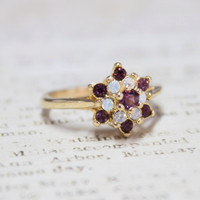 Vintage 1970's Amethyst Swarovski Crystal and Pinfire Opal Star Cluster Ring 18kt Yellow Gold Electroplated Made in USA