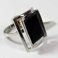 Vintage 1970's Genuine Onyx Ring Rhodium Plated Cocktail Ring Made in USA