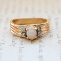Vintage Jewelry Genuine Jelly Opal with Clear Crystal Accents on Sides Ring, Plated in 18kt Electroplated Yellow Gold Made in the USA