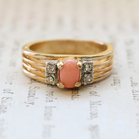 Vintage Genuine Coral with Clear Crystal Side Accents, 18kt Gold Electroplated, Made in the USA
