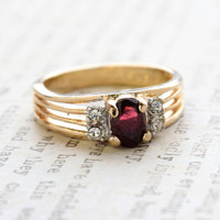 Vintage Garnet CZ with Clear Crystal Side Accents 18kt Gold Electroplated Made in the USA