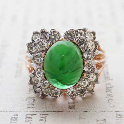 Vintage Jewelry Emerald Green Cabochon Stone and Clear Crystal Cocktail Ring in 18kt Yellow Gold Electroplate Made in the USA