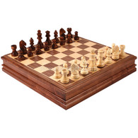 Aliso Chess Set with Storage in Walnut Wood Finish