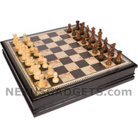 Warlow Chess Set - 19 Inch Large - Black Inlaid Wood Set