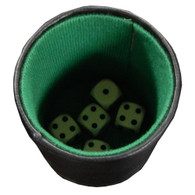 Leatherette and Felt Dice Cup with Pencil, Notepad, and 5 Dice