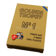 Modiano Single Deck Italian Plastic Playing Cards - Golden Trophy with Blue Deck