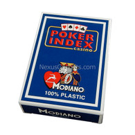 Modiano Single Deck Italian Plastic Playing Cards - Blue Poker Index Deck