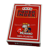 Modiano Single Deck Italian Plastic Playing Cards - Red Poker Index Deck