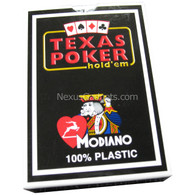 Modiano Single Deck Italian Plastic Playing Cards - Black Texas Hold'em Box with Blue Deck