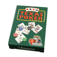 Modiano Single Deck Italian Plastic Coated Playing Cards - Green Texas Hold'em Box with Red Deck