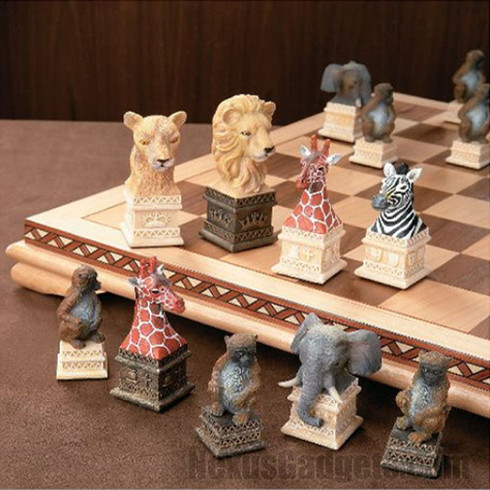 Ben Homer Chess Set With Wild Animals Of Africa Theme