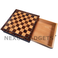 Okina Chess in 13 Inch Wood Cabinet - BOARD ONLY, NO PIECES