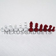 """Stinson Red and White Wood Chess Pieces - 2"""" King - BOARD NOT INCLUDED"""