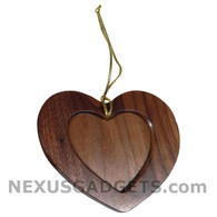 Eida Heart Wood Photo Christmas Holiday Ornament (Set of 3)