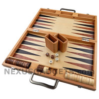 "Duko 17"" Large Wood Backgammon Suitcase Set"