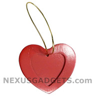 Brid Red Heart Wood Photo Christmas Holiday Ornament (Set of 3)