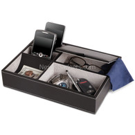 Deosia Valet Tray in Black Vinyl with 5 Compartments