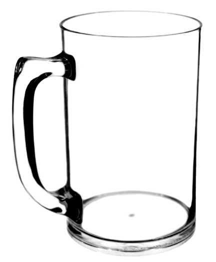 Clear Plastic Beer Mug 15oz.