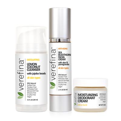 Shown with options:  Lemon Coconut Cleanser Sea Buckthorn Facial Cream Moisturizing Deodorant Cream