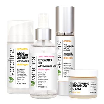 Shown with options:  Lemon Coconut Cleanser Rosewater Mist Sea Buckthorn Facial Cream Moisturizing Deodorant Cream