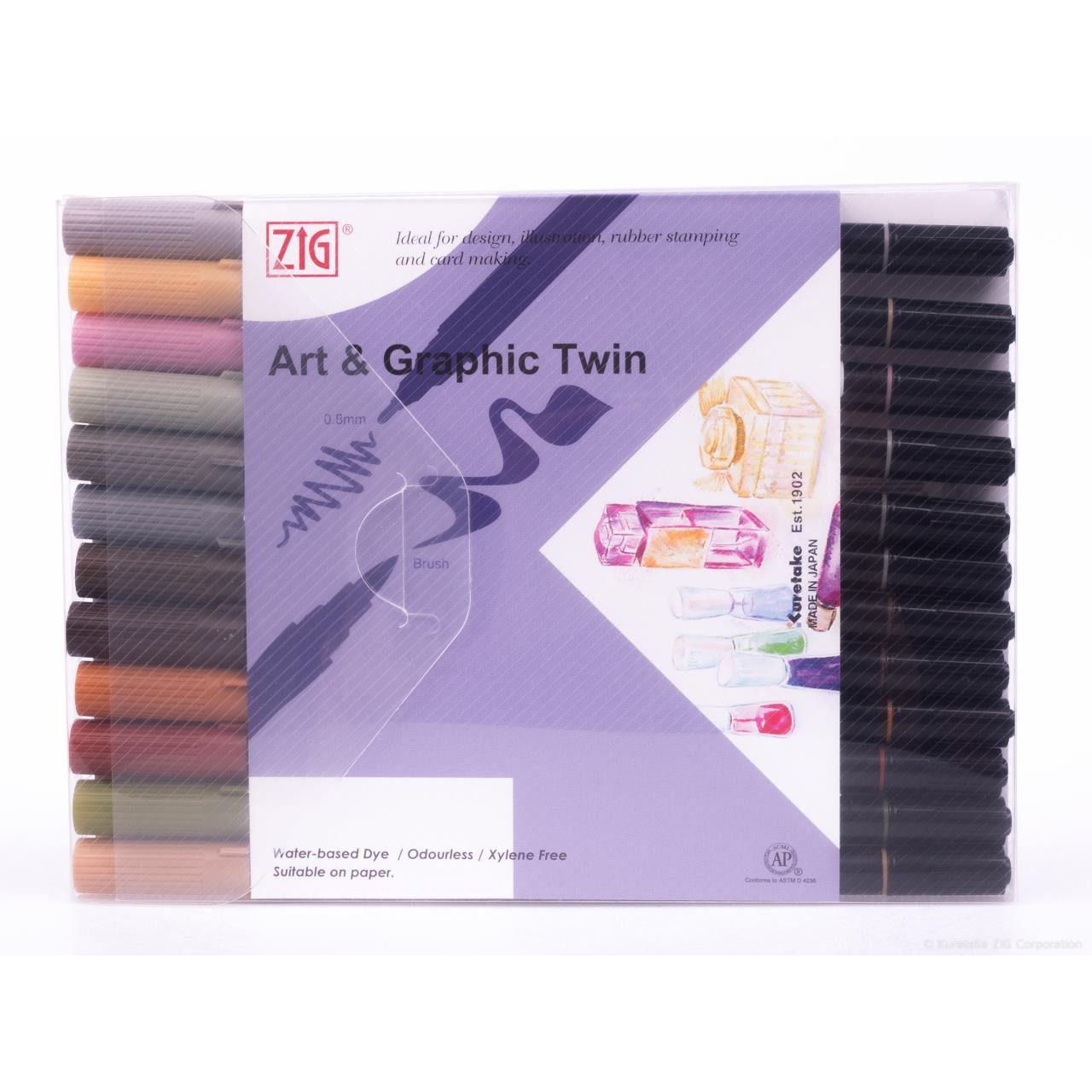 Zig Art & Graphic Twin Tip Marker, Muted set of 12 - 847340016748