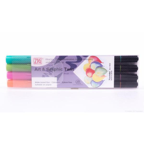 Zig Art & Graphic Twin Tip Marker, Summer set of 4 - 847340016731
