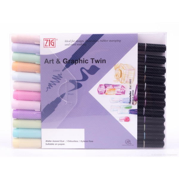 Zig Art & Graphic Twin Tip Marker, Pastel set of 12 - 847340016663