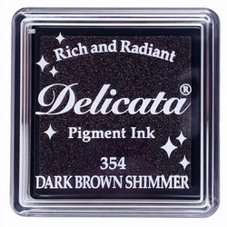 Delicata Small Ink Pad, Dark Brown Shimmer -