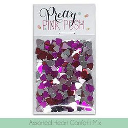 Pretty Pink Posh Sequins, Assorted Heart Confetti -