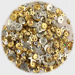 Buttons Galore Sequin Party Mix, Gold & Silver -
