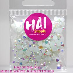 HAI Sequins, White Rhinestones -