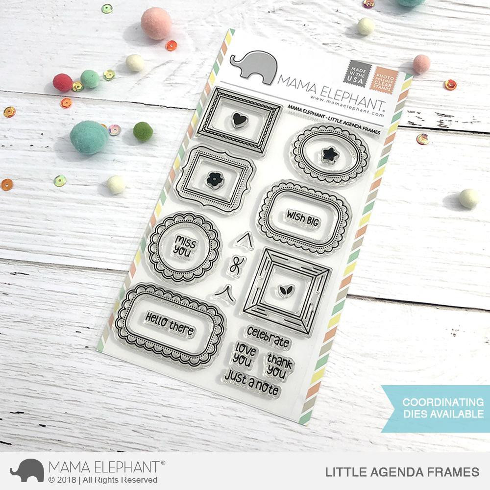 Mama Elephant Clear Stamps, Little Agenda Frames - Ellen Hutson LLC